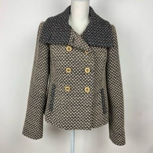 Anthropologie Tabitha Wool Double Breasted Peacoat